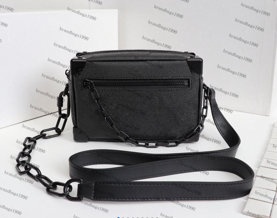 M44480 Black Flower symmetrisch Kofferbox Tasche aus echtem Leder Miniwanne Schulter-Beutel-Beutel-Frauen Art und Weise neuen Cross Body Handtasche