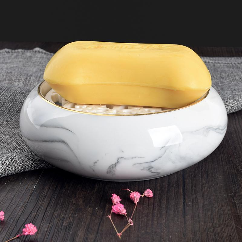 Accesorios de baño de cerámica de la caja de jabón doble redonda Jaboneras / Jabonera / estuche de jabón Decoración del hogar Útil para el baño Y19061804