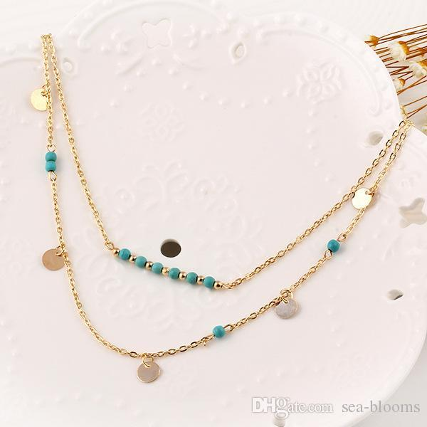 Summer Style Boho Statement Necklaces Turquoise Beads Double Layer Chain Charm Necklaces Coin Body Chain Necklace Women Jewelry Gift D784S F