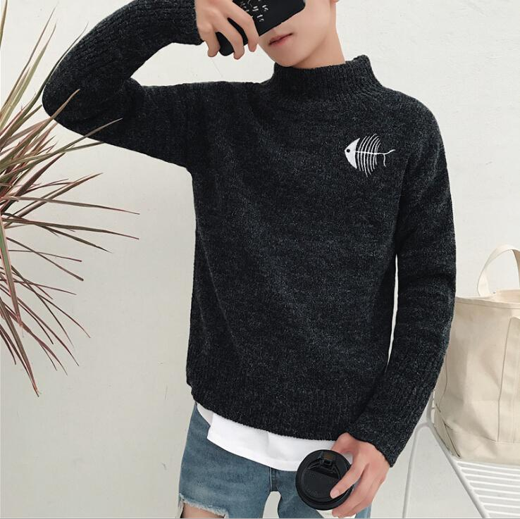 Moda- Sweater Mens Black Cat And Fish Impreso Hombres Mujeres Amantes Invierno suéter camisa