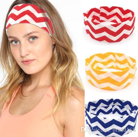 12 pçs / lote Para As Mulheres onda padrão Elástico Absorver o suor Boho Cabeça Do Cabelo Wraps Acessórios Sem Escorregar Ampla esportes yoga Hairband Headbands