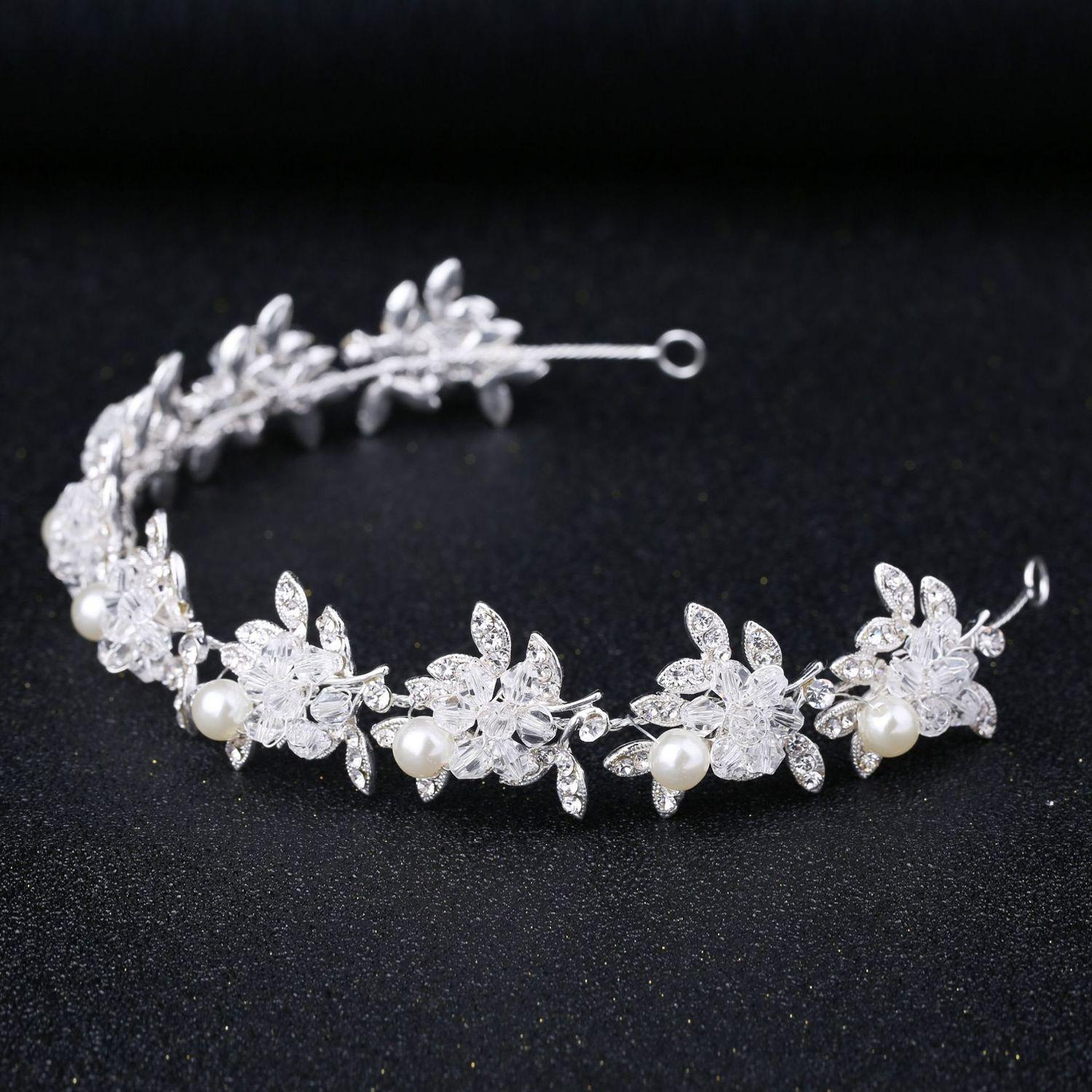 Expert Manual Crystal A String Of Beads Alloy Hair Hoop Hair Band Bride Wedding Dress Full Dress Match Headwear