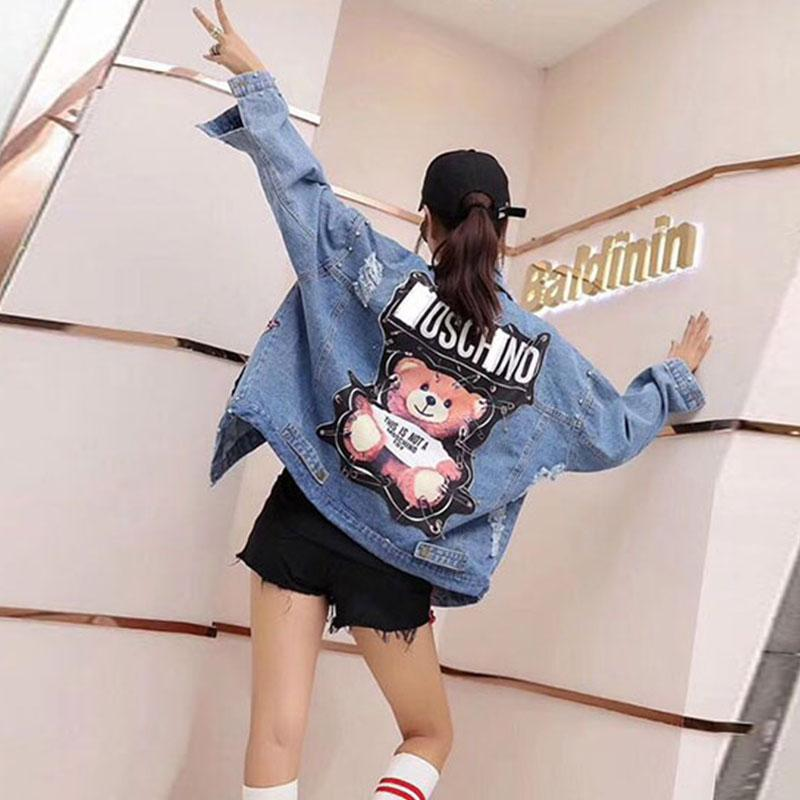 Weibliche Jacke 2019 Pailletten Perlen Punk Batwing Sleeve Damen Jeansjacke Damen lösen Vintage-Street Jeans-Jacken-Mantel