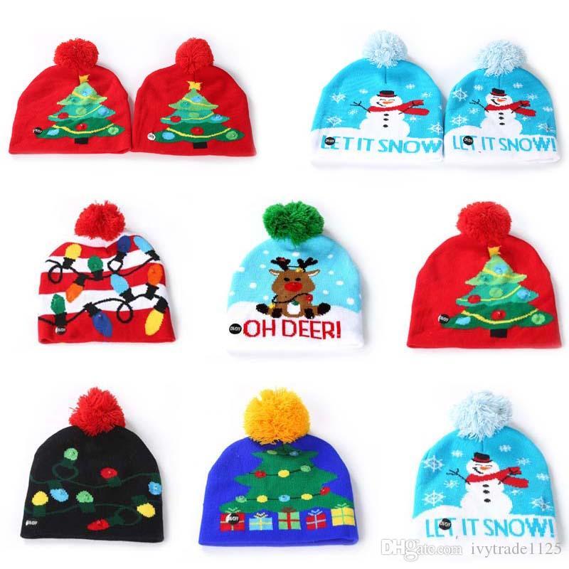 الأصل عيد الميلاد للأطفال بقيادة الإضاءة قبعة الطفل الكبار المرونة الكروشيه ندفة الثلج شجرة عيد الميلاد الغزلان LED قبعة القبعة