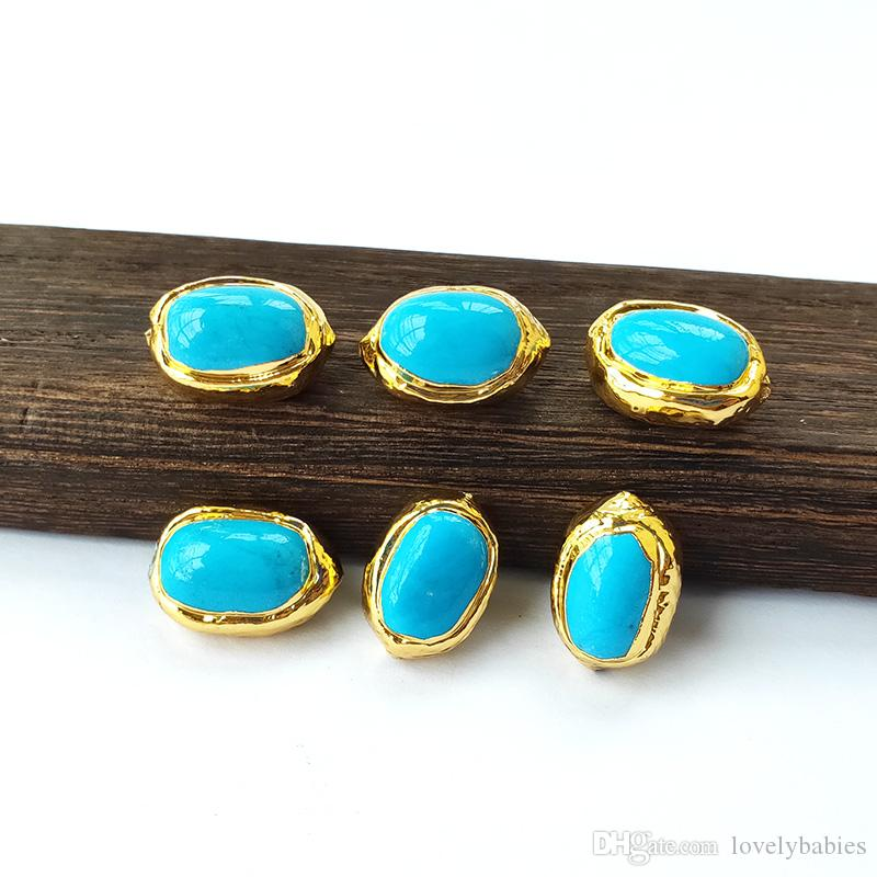 New Design oval-shaped Blue Howlite Stones Connector Bead,Gem stone Loose Spacer Beads For Jewelry Making Findings BD374