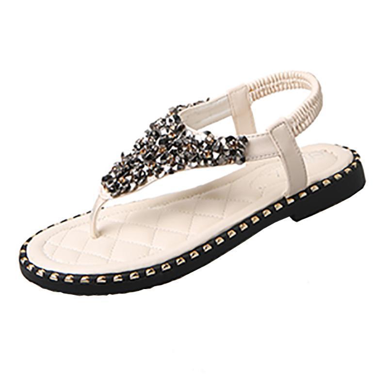 JAYCOSIN Sandales Femmes strass Chaussures Femmes Pincez Paillettes à fond plat Sandales anti Débardage Tongs plat plat