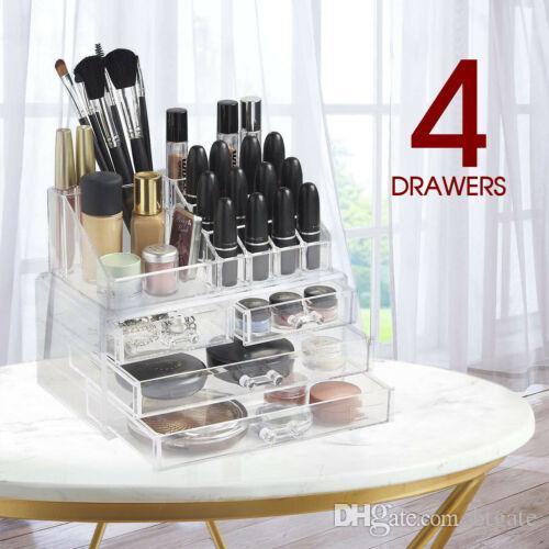 Cosmetic 4 ящик 16 GRID Организатор Очистить акриловую коробку хранения пластиковые хранения шкафа ювелирных изделий макияж держатель корабля из США