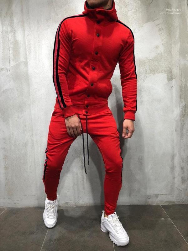 2pcs Vêtements Costumes Ensembles Tenues Hiphop Hommes Survêtements Styliste Pantalon rayé à capuche Boutons design