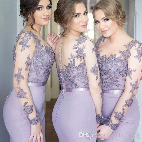 2021 Lavender País Dama de honra Vestidos Sereia Jewel Manga Longa Varredura Vestidos de Principal com Lace Applique Wedding Guest Dresses