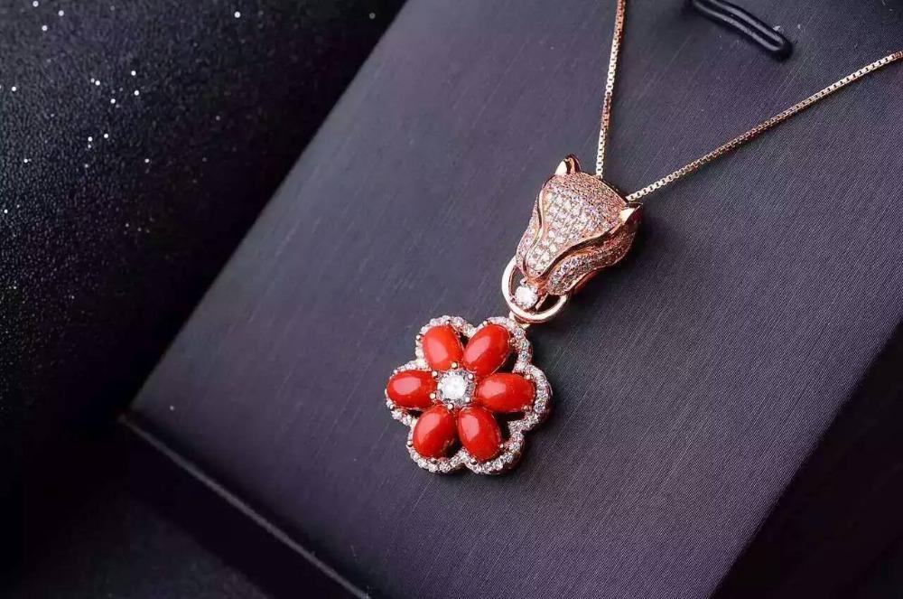 أحمر الطبيعية المرجانية جوهرة قلادة S925 الفضة والأحجار الكريمة الطبيعية قلادة العصرية ليوبارد الزهور النساء الهدايا والمجوهرات