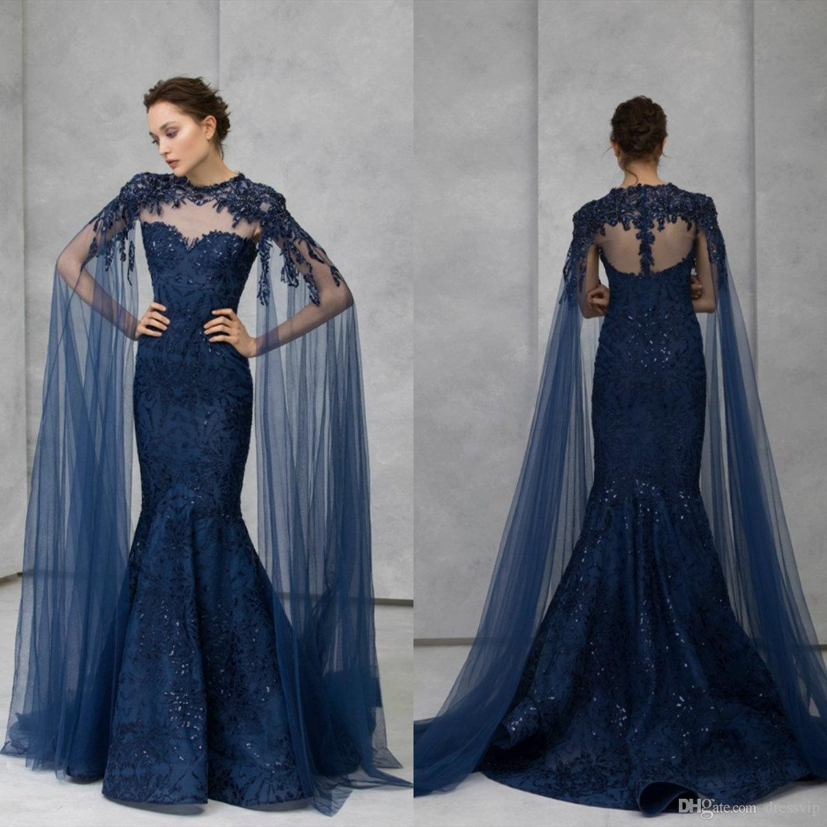 2020 Gorgeous Evening Dresses With Wrap Cape Lace Appliqued Beaded Mermaid Prom Dress Tony Ward Formal Party Gowns Robes De Soirée