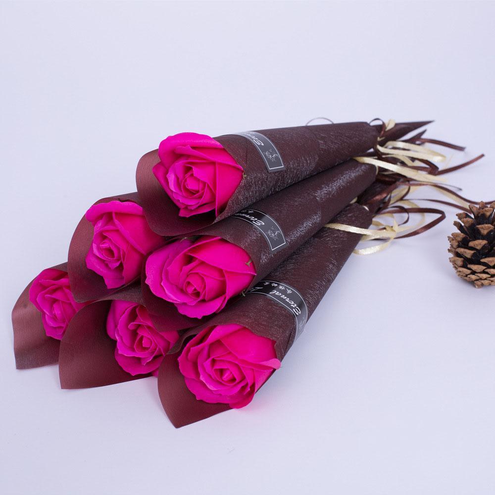 Simple artificielle florale de Rose Bain parfumé Petit Savon Rose Bouquet de fleurs Simulation Fausse Rose Saint-Valentin Fête des mères cadeau BH2949 TQQ