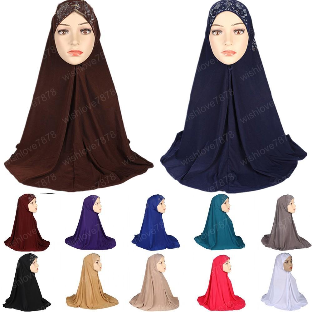 Müslüman Namaz Rhinestone Hicap Şapkalar Uzun Robe Arap Kadınlar Kimar Başörtüsü İslam Abaya Jilbab Dubai Chador Elbise
