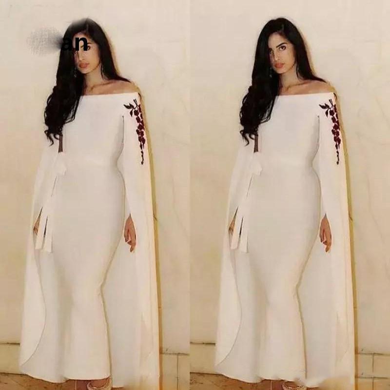 Elfenbein mit Jacke Abendkleid Boot-Ausschnitt Nixe-Spitze-Robe De Soiree Islamisch Dubai Kaftan Saudi Arabisch Abendkleid