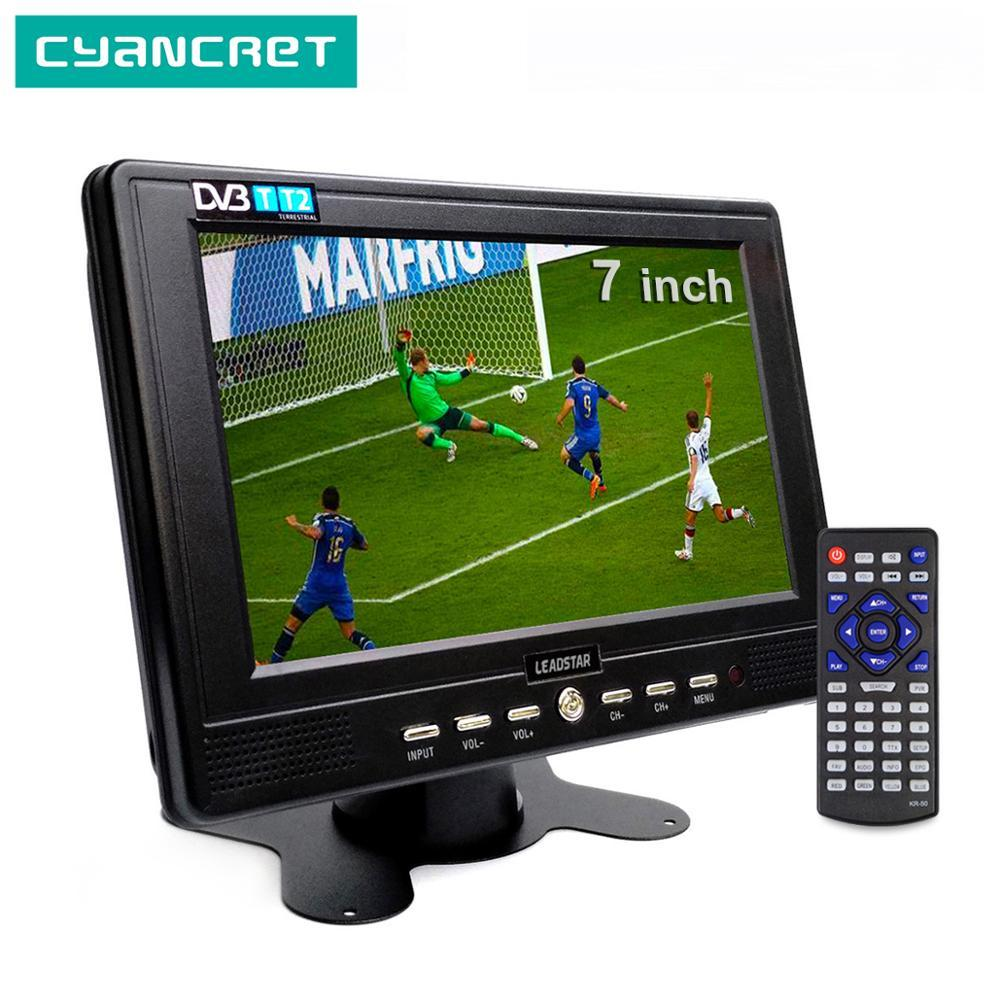 LEADSTAR D768 DVB-T2 7 polegadas portátil TV ATSC tdt digital e analógico mini-pequeno carro de apoio Television TV TF USB MP4 H.265 AC3