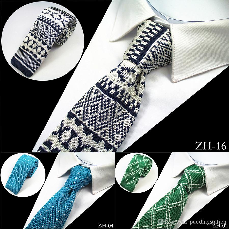 Novo Design de Moda Homens De Malha Laço Fino Mens Malha Pescoço Gravatas Cravate Narrow Skinny Gravatas Para Homens Terno Festa de Casamento