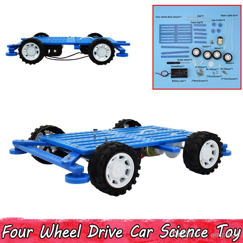 Plastic Four Wheel Drive Car Science Experiment Educational Toys for Kids Teens Hand-made Assembly Model Kits Creative Present Party Game