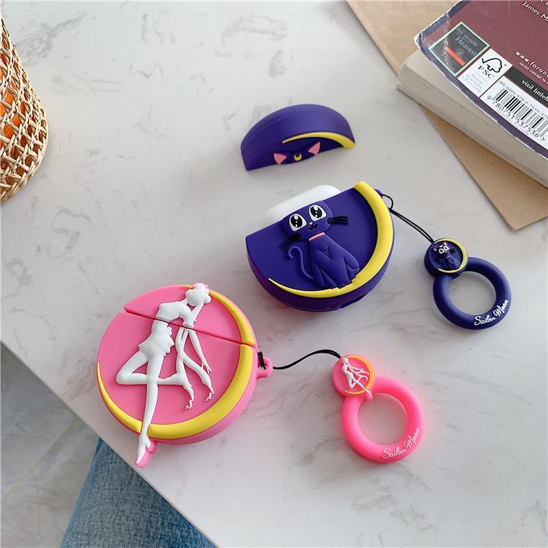 Mädchen 3D Cartoon-Katze Headset-Schutzhülle für AirPods 1 2 Generation drahtloser Bluetooth Kopfhörer-Abdeckung Box NEU Designer