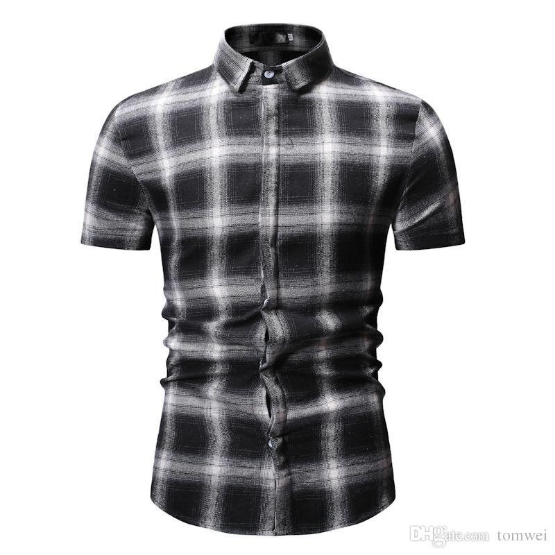 Mens Camisas Xadrez Ocasional Slim Fit Camisas de Verão Tops de Manga Curta Coreano Camisa Nova Chegada 2019 Roupas Masculinas Atacado
