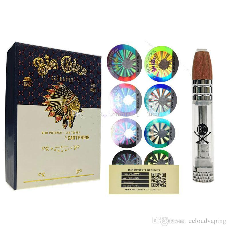 Big Chief Vape Cartridges Verpackung 510 Gewinde dickes Öl Vaporizer 0,8 ml elektronischen Zigaretten-Kit Vape Pen Carts leeren