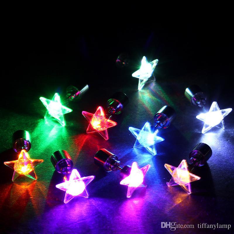 9 цветов LED серьги Light Up Яркие серьги звезды Светящиеся стержня уха для DJ Dance Party Bar Девушка стержня уха моргать