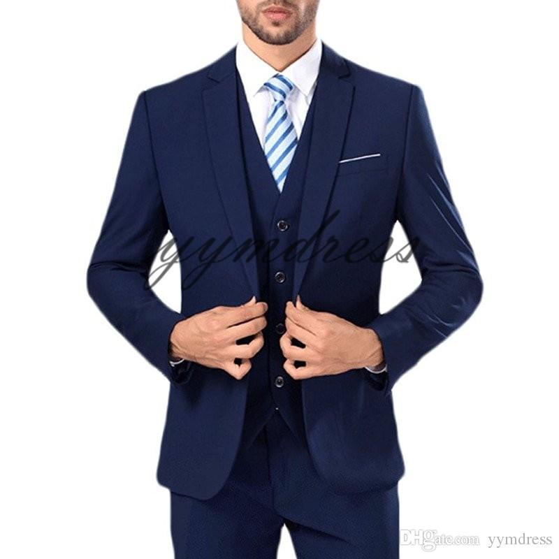 Dark Blue Wedding Tuxedos Notched Lapel One Button Slim Fit mens prom tuxedos suits Three Pieces Men Suits (Jacket+Pants+Vest+Tie)