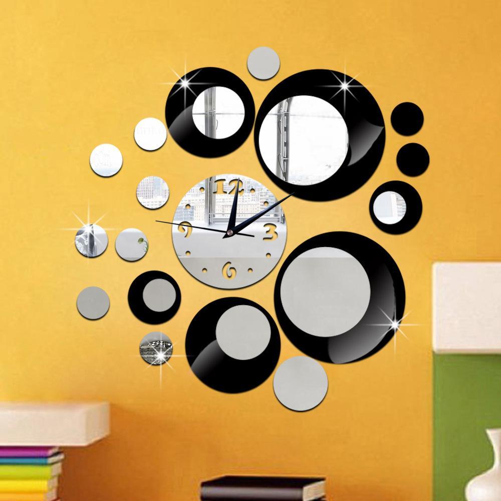 Bricolage cercle combinaison acrylique miroir ruban noir horloge murale Horloge murale silencieuse Creative art autocollant auto-adhésif
