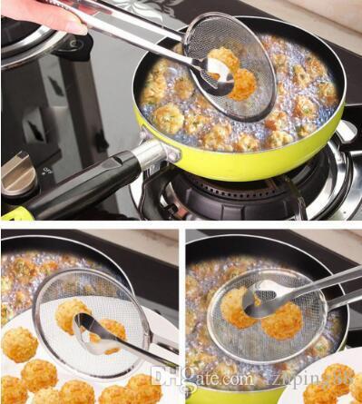 Новый многофункциональный фильтр Ложка с зажимом Питание Кухня Нефть Сковороды Барбекю Фильтр из нержавеющей стали Зажим Сито кухонный инвентарь