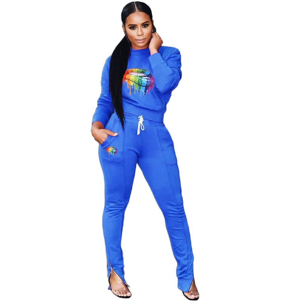 Frauen drucken Anzug Plus Size Mädchen Hoodie Sportkleidung lange Hosen 2 Stücke eingestellt Outfit Frühling Herbst Lässige Kleidung-Klage S-2XL