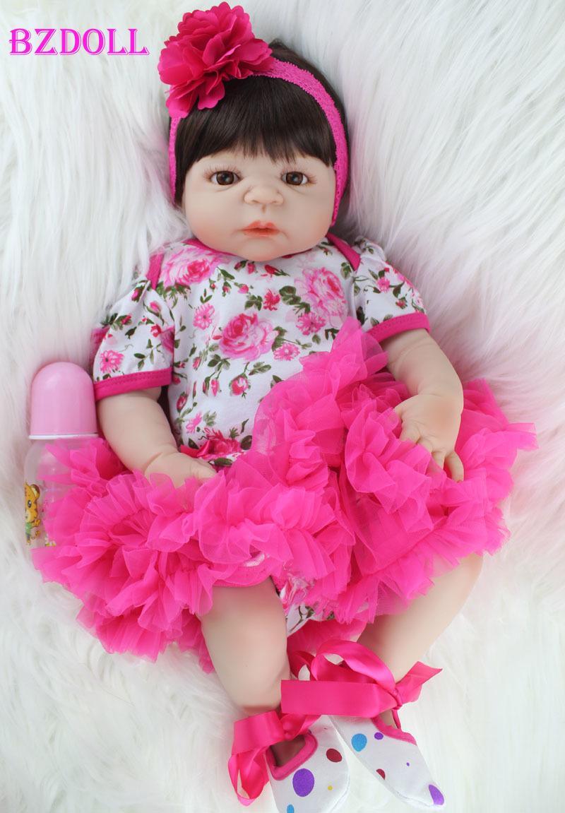 BZDOLL Full Body silicone Réincarné Baby Doll Toy réaliste nouveau-nés Princesse filles Bébés Doll Kid Brinquedos Bathe Toy MX200414