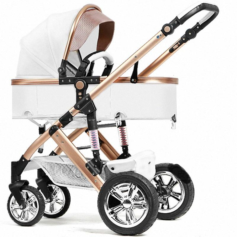 babyfond 2 in 1 leather baby stroller baby car child trolley summer light folding leather pram qneK#