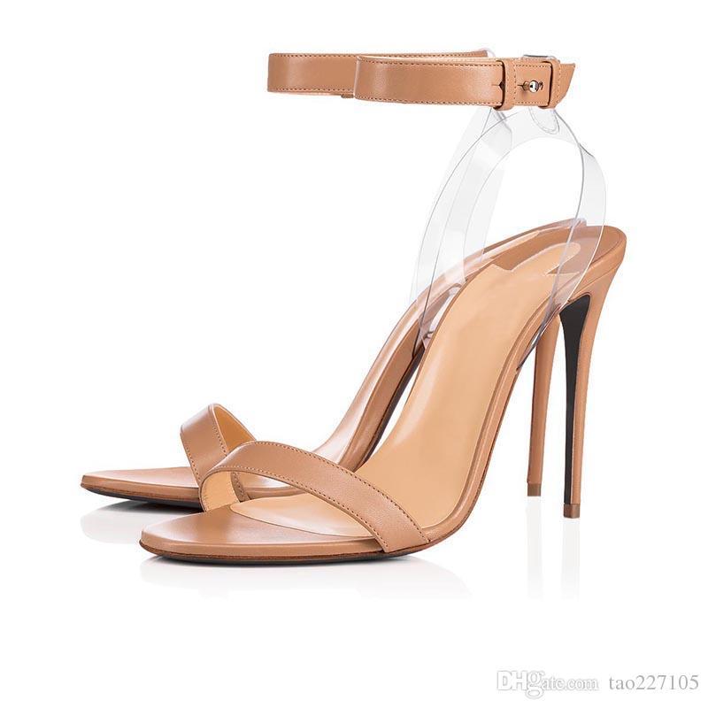 Bas sandales rouges talon clair sandales à bride sandale à lanière transparente Chaussures à talons hauts pour femmes