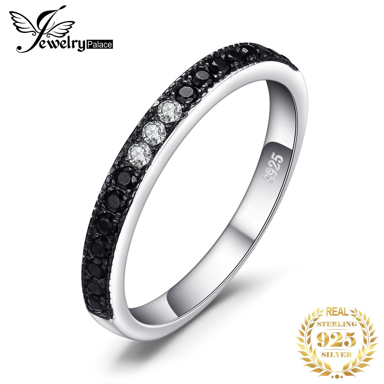Anillo barato JewelryPalace Espinela genuino Negro 925 de plata anillos de los anillos de bodas las mujeres Eternidad Banda de plata 925 joyería fina