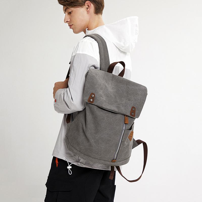 2019 Nueva mochila de lona de los hombres de negocios informal portátil de la Universidad hombres de la moda del morral de alta calidad bolsa de Estudiante