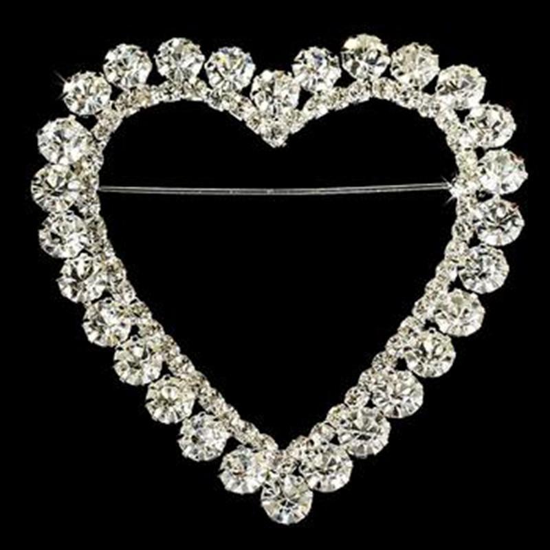 2.25 Inch Sparkly Rhinestone Crystal Wedding Pin Heart Romance Rhinestone Bridal Brooch