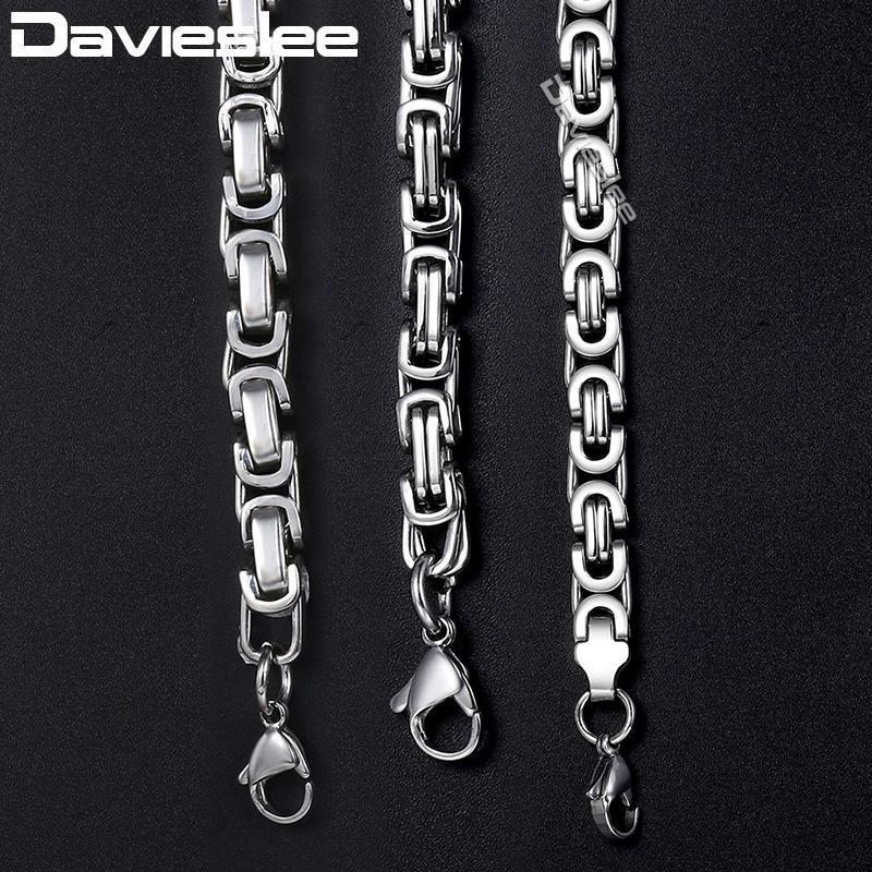 سلاسل Davieslee رجال القلائد الفضة لهجة الفولاذ المقاوم للصدأ قلادة سلسلة البيزنطية للرجال الأزياء والمجوهرات هدية 5 / LKNN21 7MM