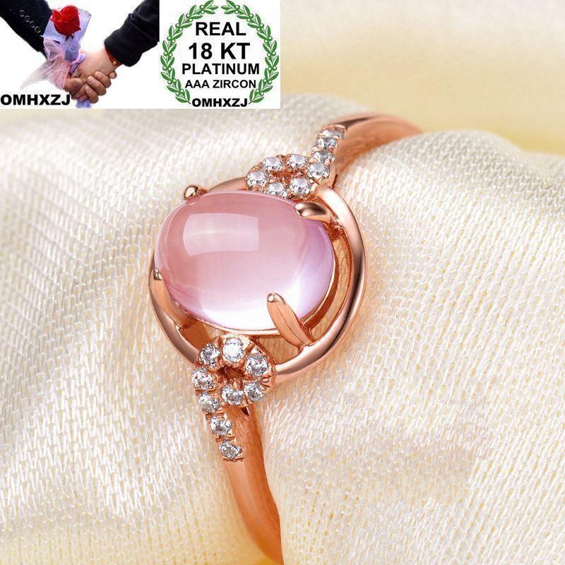 OMHXZJ Wholesale European Fashion Woman Man Party Wedding Gift Oval Rose Quartz White Zircon 18KT Rose Gold Ring RR594