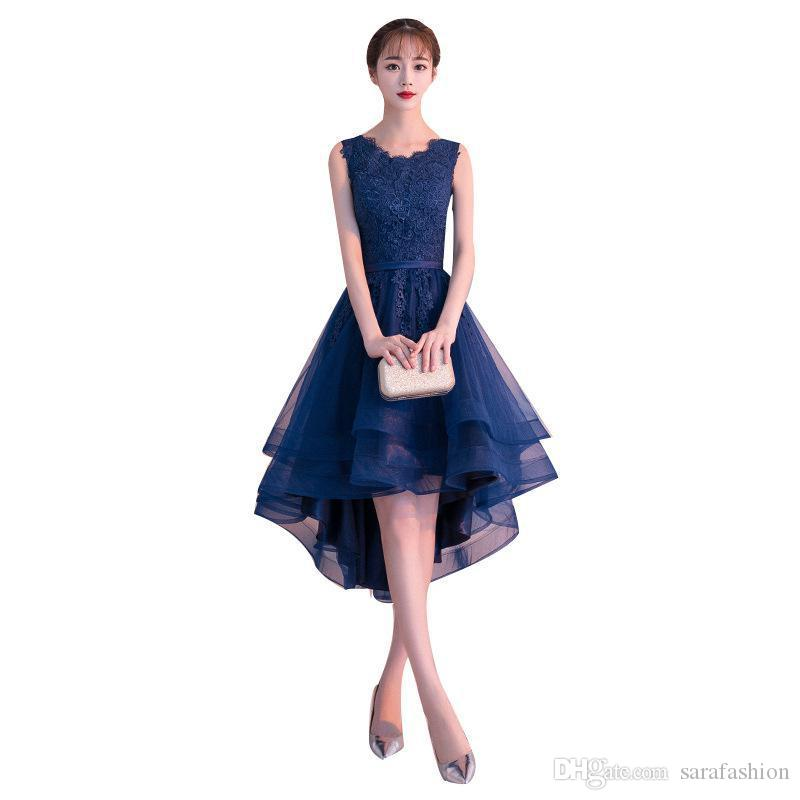 Navy Blue Tulle with Lace High Low Bridesmaid Dresses 2020 Short Party Dress robe mariage femme