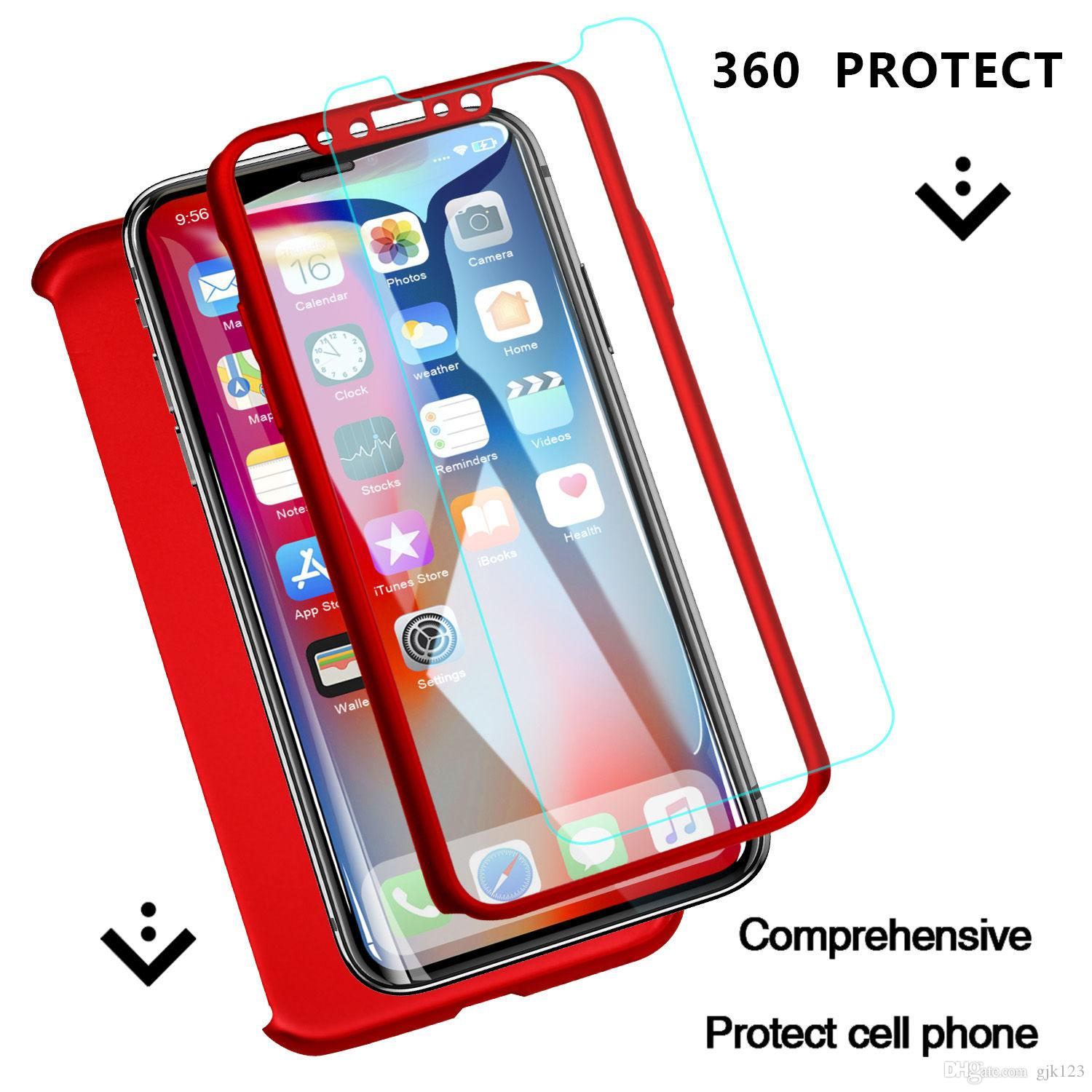 360 Degree Full Cover Protective Case For iPhone 5s SE 6 6s 7 8 Plus X XR XS MAX Logo With Glass Cover