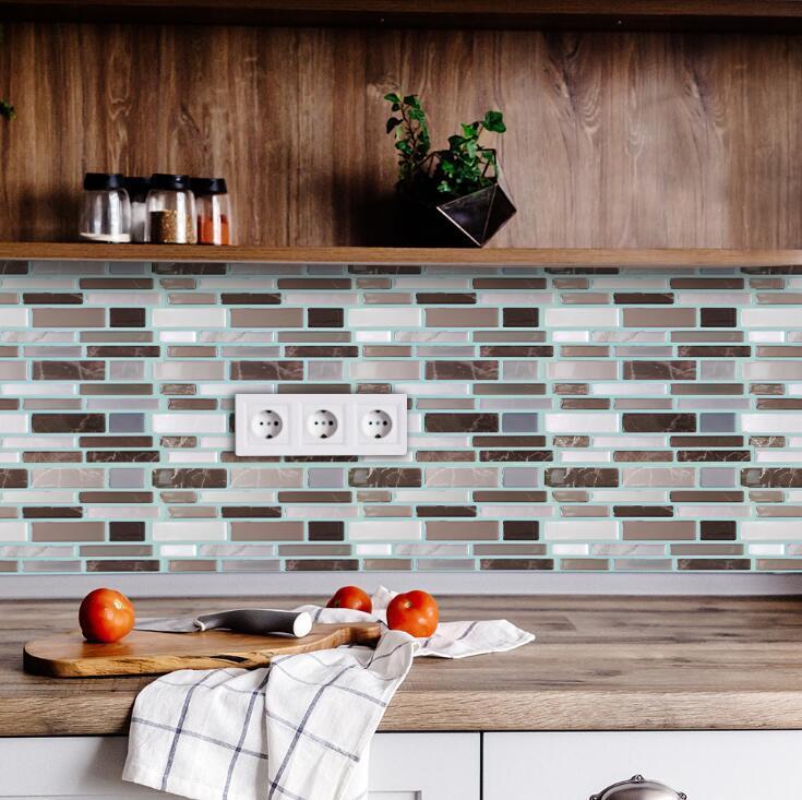 بلاط التقشير وعصا الذاتي لاصق قابل للنقل عصا في المطبخ باكسبلاش حمام 3D الايبوكسي الجدار ملصق خلفيات بلاط ملصقات Multicolors