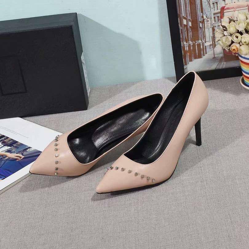 Moda 2019 Senhoras Designer De Couro Genuíno Stiletto Sapatos De Salto Alto Bombas de Casamento Das Mulheres Da Marca Sapatos Chaussures Hommes Tamanho 35-42