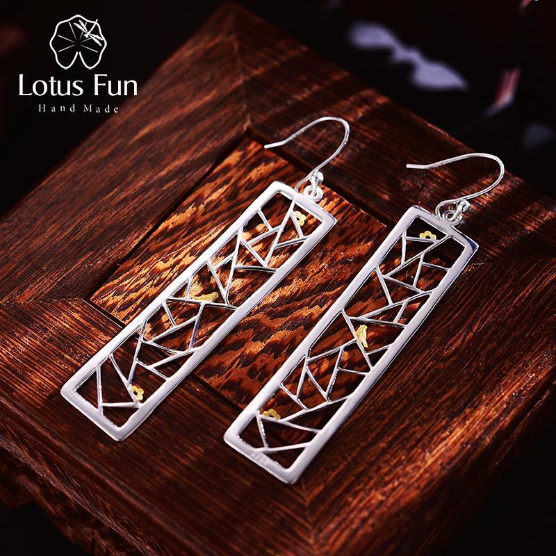 ewelry Aksesuarları Lotus Eğlence Gerçek fo 925 Gümüş El Yapımı Güzel Takı Oriental Eleman Pencere Kağıt kesme Tasarım Dangle Küpe ...