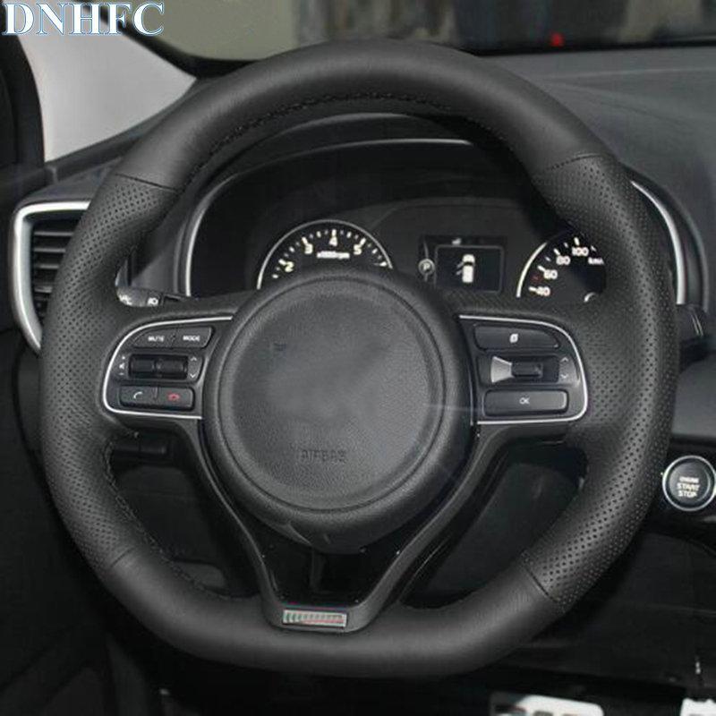 all'ingrosso di cuoio nero cucito a mano Steering Wheel Car copertura per Kia Optima 2016 2017 2017 2018 Sportage
