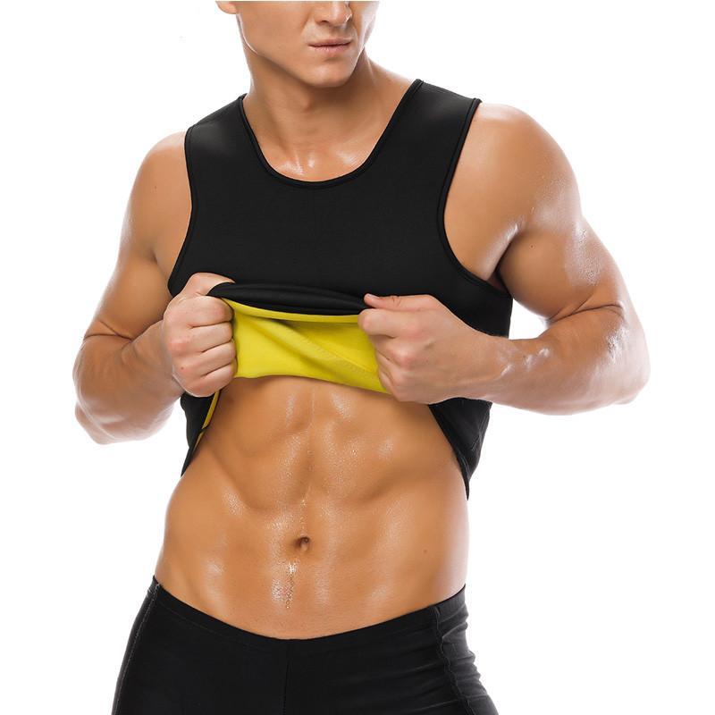 남자 사우나 조끼 울트라 땀 뜨거운 셰이퍼 셔츠 thermo Neoprene 땀 셰이퍼 슬리밍 허리 트레이너 코르 셋 패션 체육관 착용