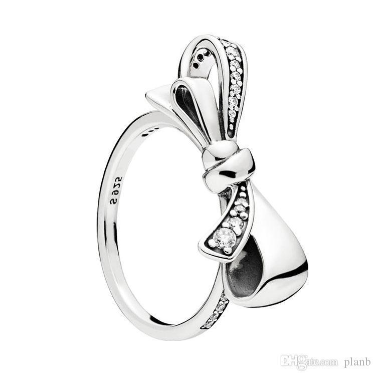 925 Sterlingsilber-Brilliant-Bogen-Ring Set Original Kasten für Pandora Damen Hochzeit CZ-Diamant-Ring-