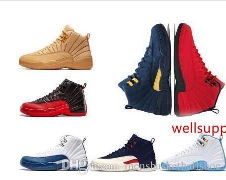 Designer 12 12s basquetebol dos homens calçam as sapatilhas esportes Ginásio Vermelho Branco Dark Gray Formadores de táxi azul Suede Flu Jogo CNY Shoes