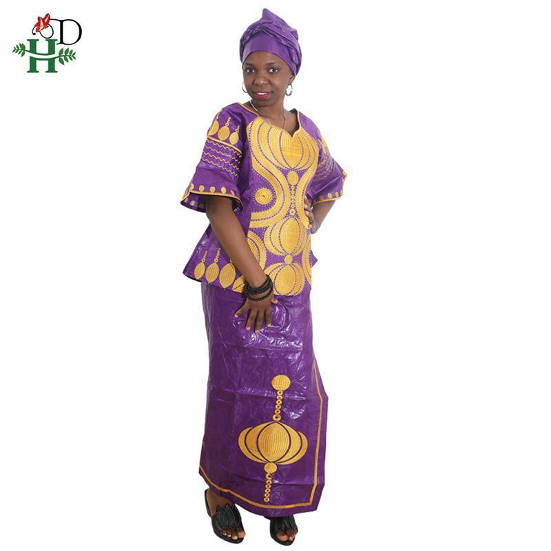 mujeres africanas HD equipar trajes Bazin ropa dashiki para las mujeres de África bordado ropa de la falda de dos piezas Africana conjunto Jupe
