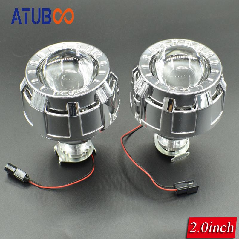 2.0 Inches HID Bi xenon Headlight Projector Lens+Mini Gatling Gun Shrouds For Cars/Motorcycle H7 H4 Car Styling