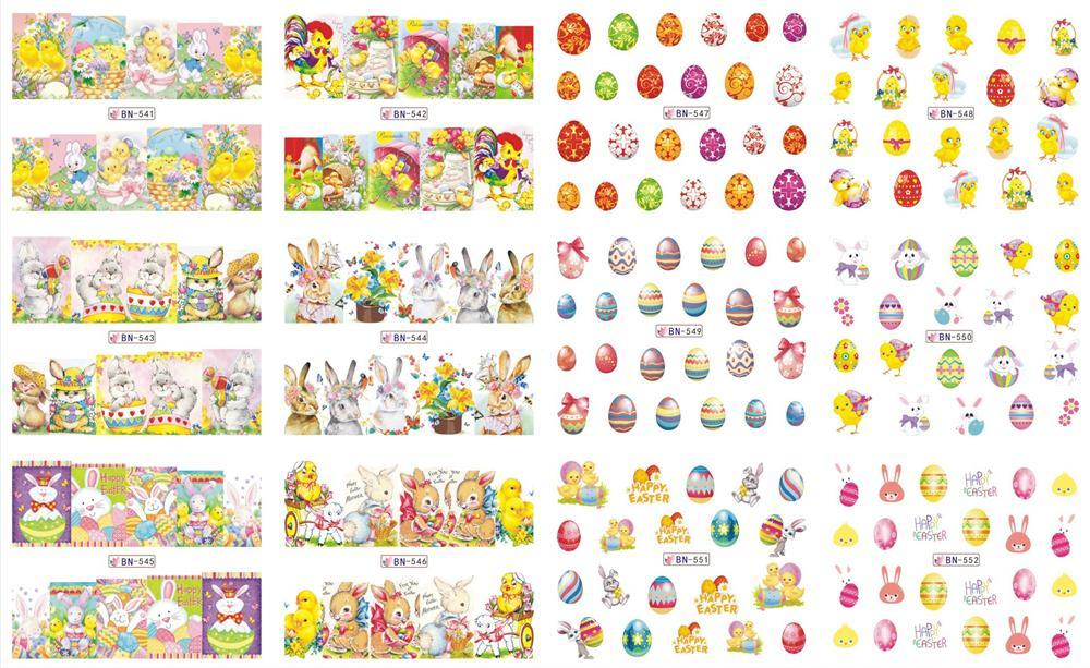 eauty Salud 12 diseños de uñas vueltas completas de transferencia de clavo del arte del Cartoon Designs Patrones de la plantilla de Pascua del color Tatuajes deslizante Consejos BN5 ...