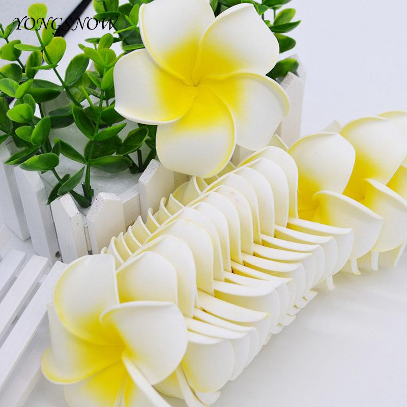 10Pcs/lot Plumeria Hawaiian PE Foam Frangipani Artificial Flower Headdress Flowers Egg Flowers Wedding Decoration Party Supplies C18112601